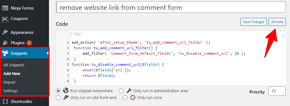 Code Snippets Remove Website Field