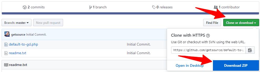 Download default to GD plugin