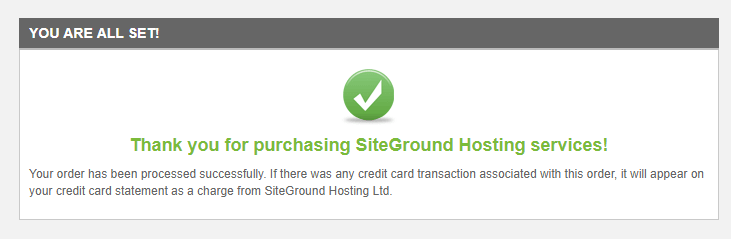 SiteGround Hosting Purchased