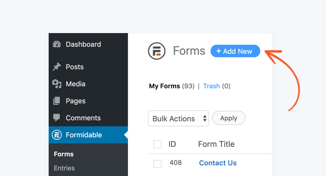 create form add new button